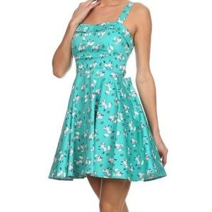 Ixia   Fox turquoise a-line dress with bow